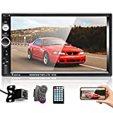 Double Din Car Stereo with Bluetooth and Backup Camera 7 inch HD Touchscreen Multimedia Car Audio Receivers Support FM USB TF Card AUX-in Mirror Link+Remote Control+Wireless Steering Wheel Control
