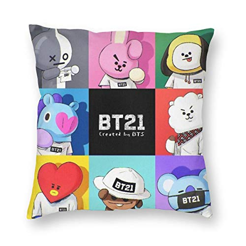 xox K-POP BTS Throw Pillow Case, BT21 Picture Print Skin-Friendly Pillowcases Decorative Gift Soft Waist Pillow Covers, Durable Pillow Cover with Hidden Zipper