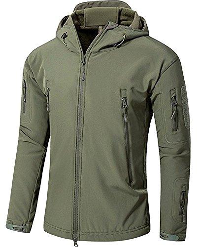 YFNT Cappotti con Cappuccio Softshell UomoAbbigliamento tattico Militare Caldo Camouflage Tattico Impermeabile Impermeabile Cappotto di Abbigliamento