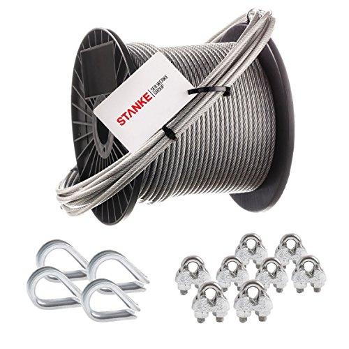 Seilwerk STANKE Rankhilfe PVC Drahtseil ummantelt verzinkt 5m Stahlseil 2mm 1x19, 4x Kausche, 8x Bügelformklemme - SET 2