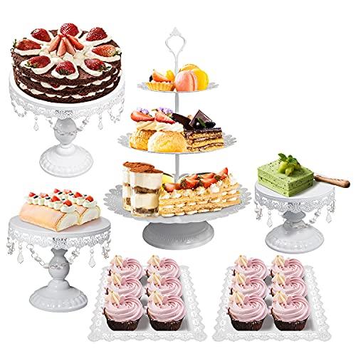 Kuchen Steht Set Metall Antike Cupcake Stehen Pastry Trays Dessert Display Platte Geburtstag Party Hochzeitstorte Ständer Halter mit Kristall Anhänger und Perlen