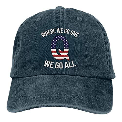 ZJHFSGMY Q Anon patriotische Flagge, wohin wir gehen, gehen wir alle niedliche Unisex Gewaschene Kappe justierbarer der Hut des Vatis
