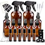 Glass Spray Bottle, Wedama 10 Amber Glass Spray Bottle Set (2 16oz,2 4oz,6 2oz), 6 10 ml Essential Oil Roller Bottles Kits with Labels,for Aromatherapy Facial hydration Watering Flowers Hair Care