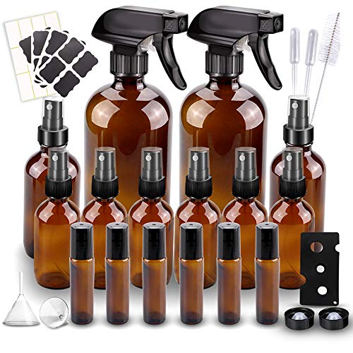 Glass Spray Bottle, Wedama Amber 10 Glass Spray Bottle Set(16/4/2oz), 6 10 ml Essential Oil Roller Bottles Kits with& Accessories for Aromatherapy Facial hydration Watering Flowers Hair Care (B)