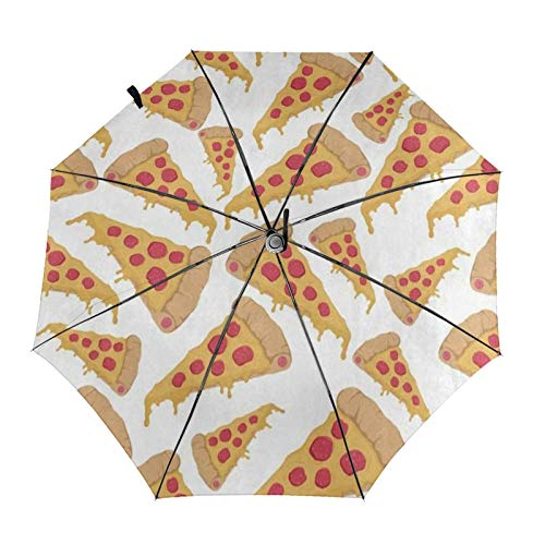 N\ A Golf Umbrella Funny Pizza Cartoon Food Compact Auto Open Close Travel Sun Uv Windproof Folding...