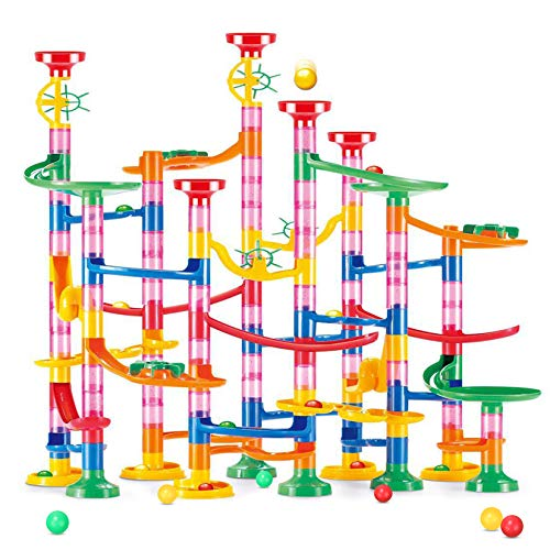 Pomatoy Marble Run Toy 133Pcs STEM Educational Construction Maze Block Toy Set with Marbles for Kids