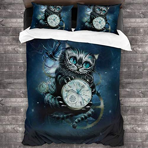 CAPINER 3D Full Print Kawaii Cheshire Cat Comforter Sets Bedding Set Soft Quilt Set 3 Piece Bedding Set with 2 Pillow Shams