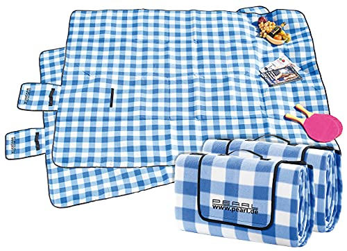 PEARL Fleece-Picknickdecke: 2er-Set Fleece-Picknick-Decken mit wasserabweisender Unterseite (Picknickdecke mit Isolierung)