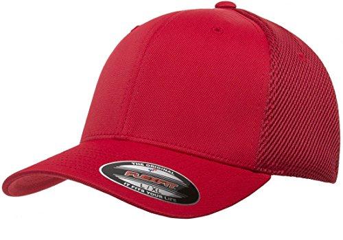 Flexfit Unisex-Adult's Ultrafibre Airmesh Fitted Cap, Red, L/XL