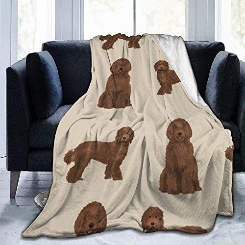 Manta Súper Suave Cómoda Transpirable Manta cálidaDoodle Dog Fabric Chocolate Labradoodles Design Manta de Lana cálida y Ultra Suave para Cama Sofá Camping