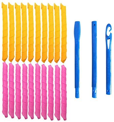 Bigoudis de nuit, bigoudis manuels, plastique, avec des outils de coiffure, pour femmes, 55 cm, orange et rose (taille: 10 pièces)