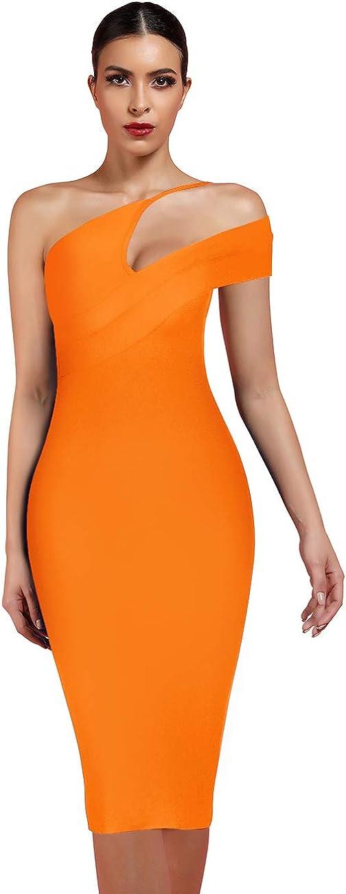 UONBOX Women's Cut Out One Shoulder Sleeveless Split Club Party Fashion Bandage Dress