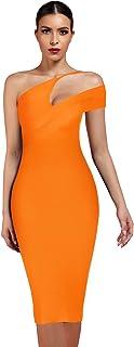 UONBOX Women's Cut Out One Shoulder Sleeveless Split Club Party Fashion Bandage Dress (S, Orange)