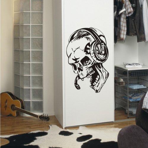 INDIGOS UG - Wandtattoo - Wandaufkleber - w931 DJ Musik - Totenschädel - Skull - Totenkopf - Bones - Wandaufkleber 40x26 cm, schwarz