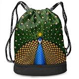 RAINNY Gym Drawstring Sports Bag Simple Quick Dry Bundle Backpack Peacock Wings