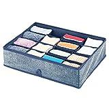 mDesign Organizador de cajones – Caja organizadora con 16 Compartimentos para el almacenaje de Ropa – Separador de cajones para Calcetines, Ropa Interior, Mallas o Joyas – Azul Oscuro