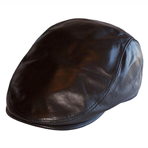 Dazoriginal Leder Flatcap Herren Schiebermütze Schirmmütze Schlägermütze