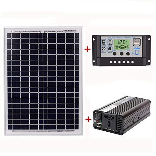 Liseng 18V20W Panel Solar 12V / 24V Controlador 1500W Inversor Ac220V, Adecuado Para Sistemas De Generacion De Energia De Ahorro De Energia Solar Al Aire Libre Y En El Hogar Ac220V (60A)