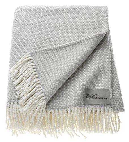 Schöner Wohnen Kollektion Zen Plaid Tagesdecke • Weiche & Waschbare Kuscheldecke hellgrau • Bettüberwurf 140x200 cm