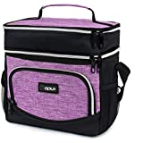 OPUX Insulated Dual Compartment Lunch Box for Women Girl | Double Deck Leakproof Reusable Soft Lunch Bag Tote with Shoulder Strap for Work Office School Kid | Lunch Pail, Fits 12 Cans, Heather Purple