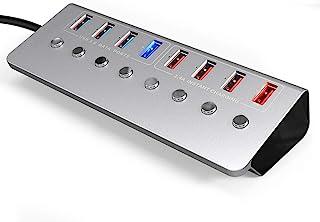 WZHZJ Aluminum Alloy 8-Port USB3.0 Splitter 4 Port Laptop Extended USB HUB 4 Port Fast Charging Adapter External 12V 4A Po...