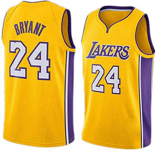DCE Herren Trikot Kobe Bryant NO. 24 Los Angeles Lakers Sommer Trikots Basketball Uniform Stickerei Tops Basketball Anzug Trikots (Gelb 2, M(48))