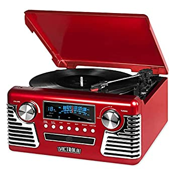Victrola 50 s Retro Bluetooth Record Player & Multimedia Center with Built-in Speakers - 3-Speed Turntable CD Player AM/FM Radio | Vinyl to MP3 Recording | Wireless Music Streaming | Red