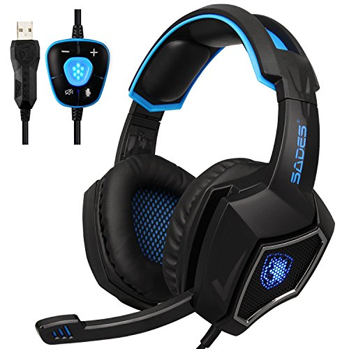 Spirit Wolf 7.1 Canal Virtual Surround Stereo USB PC Gaming Headset Wired sobre la Oreja los Auriculares con Control de Volumen de microfono con cancelacion de Ruido de luz LED (Black Blue)