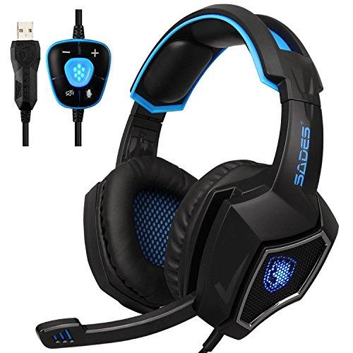 test Kopfhörer für PC-Spiele, Spirit Wolf 7.1 Surround-Stereo-Kopfband-Kopfhörer, mit Mikrofon,… Deutschland