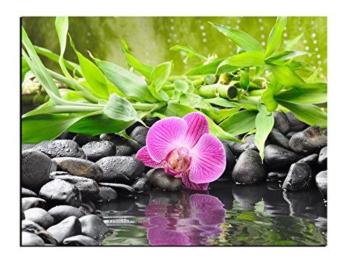 Alu-Dibond Bild Wellness Aragement mit Orchidee und Bambus ALB00638 Butlerfinish® 30 x 20 cm, Wandbild Edel gebürstete Aluminium-Verbundplatte, Metall effekt Eyecatcher!