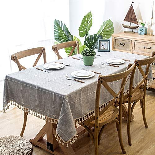 Liveinu Nappe Rectangulaire Tissu de Table Vichy Lavable Entretien Facile Résistant Imperméable Anti-tâche Nappe de Table pour Picnic Cuisine Jardin Gris avec Pompon 140x200cm