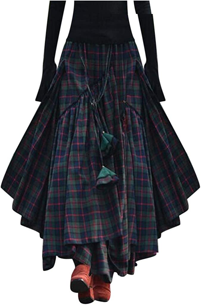 Sauahy All stores are sold Skirts for Bargain Women Loose Fringe Print Irregular Waist Plaid