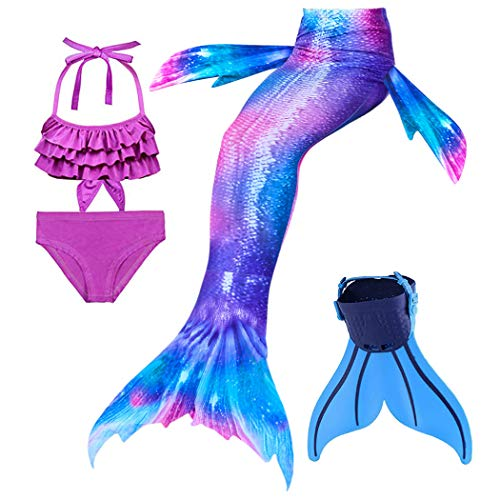 Wishliker 4 Stück Set Meerjungfrauen Schwanz mit Meerjungfrau Flosse zum Schwimmen Für Jungen, Mädchen