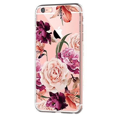 Kompatibel mit iPhone 6s/6 Hülle, iPhone 6S Schutzhülle Durchsichtig Silikon Silikonhülle Transparent TPU Bumper Schutz Handy Hülle Handytasche Handyhülle Schale Case Cover für iPhone 6 6S (Blume1)