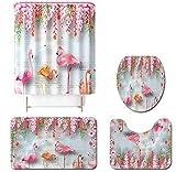 JZZCIDGa Rosa Flamingo Badematte Set 4 Stück Badematte U-Förmige Matte Duschvorhang Toilettensitzbezug Badematte Anti Slip