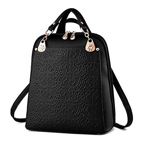 VHVCX Luxus-Rucksack Damen Taschen Designer Teenager-Alte Mädchen Schulranzen Frauen Fashion Solid Rucksack PU-Leder-Taschen Softback, Schwarz