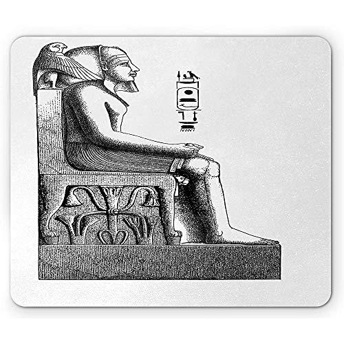 Egyptische muismat, antieke tijdperk Egypte farao koning Pose met een vogel havik schets beeld, anti-slip rubber muismat, zwart en wit