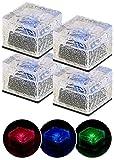 Lunartec LED Pflasterstein: 4er-Set Solar-RGB-LED-Glasbausteine, Dämmerungsssensor, 7 x 5,4 x 7 cm (Pflasterstein Leuchten)
