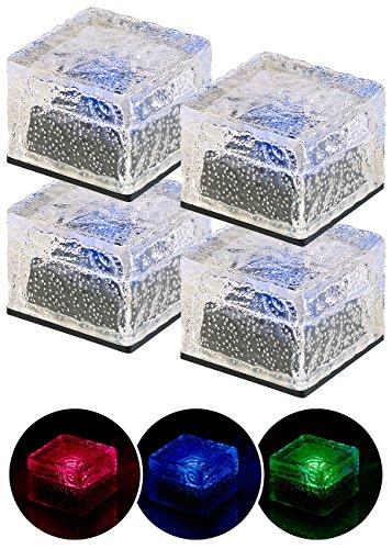 Lunartec Leuchtsteine: 4er-Set Solar-RGB-LED-Glasbausteine, Dämmerungsssensor, 7 x 5,4 x 7 cm (Pflasterstein Leuchten)