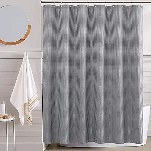 TOPICK Waffel-Duschvorhang Grau Wasserdicht Textil für Badezimmer Antischimmel Dushvorhänge Allmähliches Farbdesign Stoffvorhanghaken mit 12 Hacken 1PC 175x180cm
