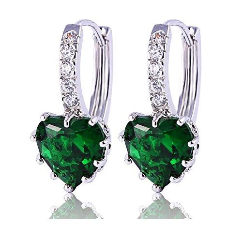 925 GULICX Plata Esterlina pendientes de aro Color esmeralda de Color verde en forma de corazón de fiesta