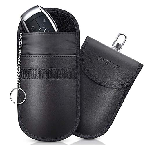 Samfolk Keyless Go Schutz Funkschlüsse PU-Leder,RFID-Blocker,Faraday Tasche [2 Stck]