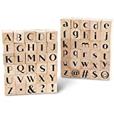 Wood Rubber Stamps, Alphabet Stamp Set (0.6 x 0.6 x 0.9 Inches, 60 Pieces)