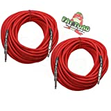 1/4' to 1/4 Male Jack Speaker Cables (2 Pack) by FAT TOAD | 50ft Professional Pro Audio Red DJ Speakers PA Patch Cords | Quarter Inch 12 AWG Gauge Wire for Amp, Music Studio Recording & Stage Gear