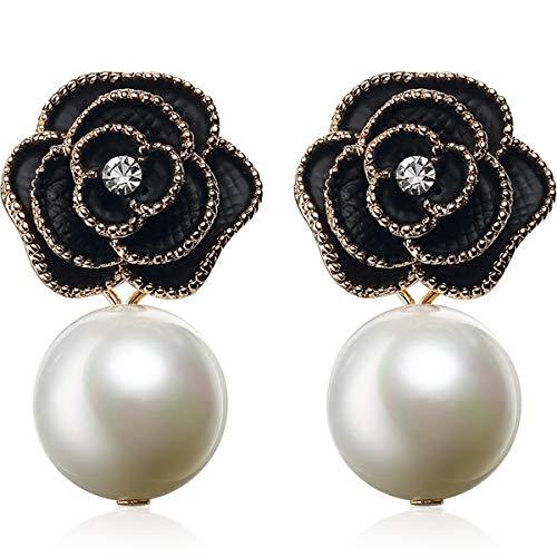 Fashion jewelry designer imitation pearl black camellia charm dangle earrings for women