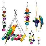 Dightyoho 6pcs Juguetes Coloridos para Pájaros en Juala, con Columpio y Campana, Juguetes para Masticar para Loros Agaporni Yacos Periquitos