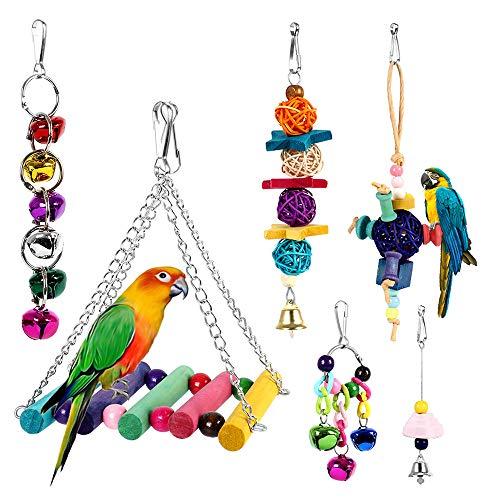 Dightyoho 6pcs Juguetes Coloridos para Pájaros en Juala, con Columpio y Campana, Juguetes para...