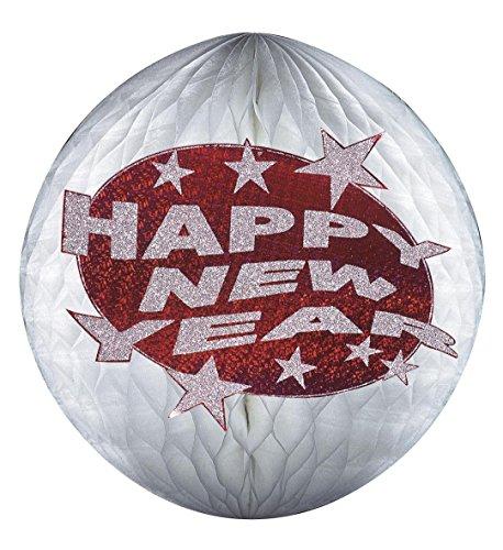 Widmann LIBROLANDIA 8061O GLOBO A NIDO D'APE HAPPY NEW YEAR OLOGRAFICO E GLITTER ROSSO