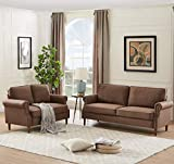 Dolonm 2 Piece Sofa Sets Mid Century Modern Upholstered Sectional Loveseat Couch Set Furniture for Living Room, Brown