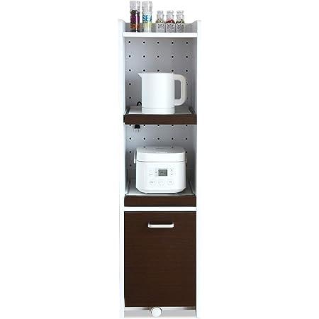 JKプラン すきま 隙間収納 キッチン ミニ 食器棚 コンパクト 家電ラック キッチン家電収納 幅 32.5 ホワイト ブラウン TSFKC0531WHDB